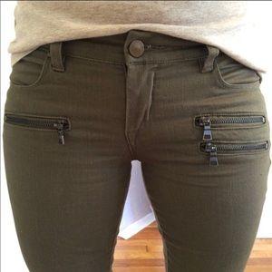 Blank NYC 27 olive skinny moto jeans